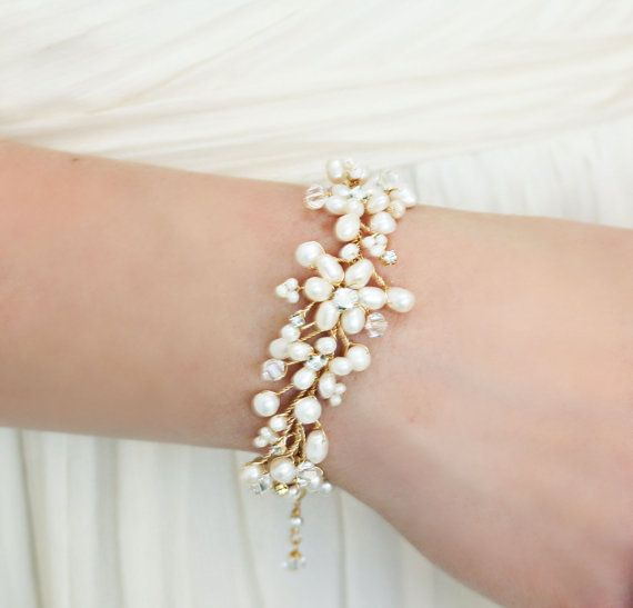 Wedding Jewelry  Statement Golden Freshwater Pearl Bracelet with Swarovski Crystals and Rhinestones Rhinestones