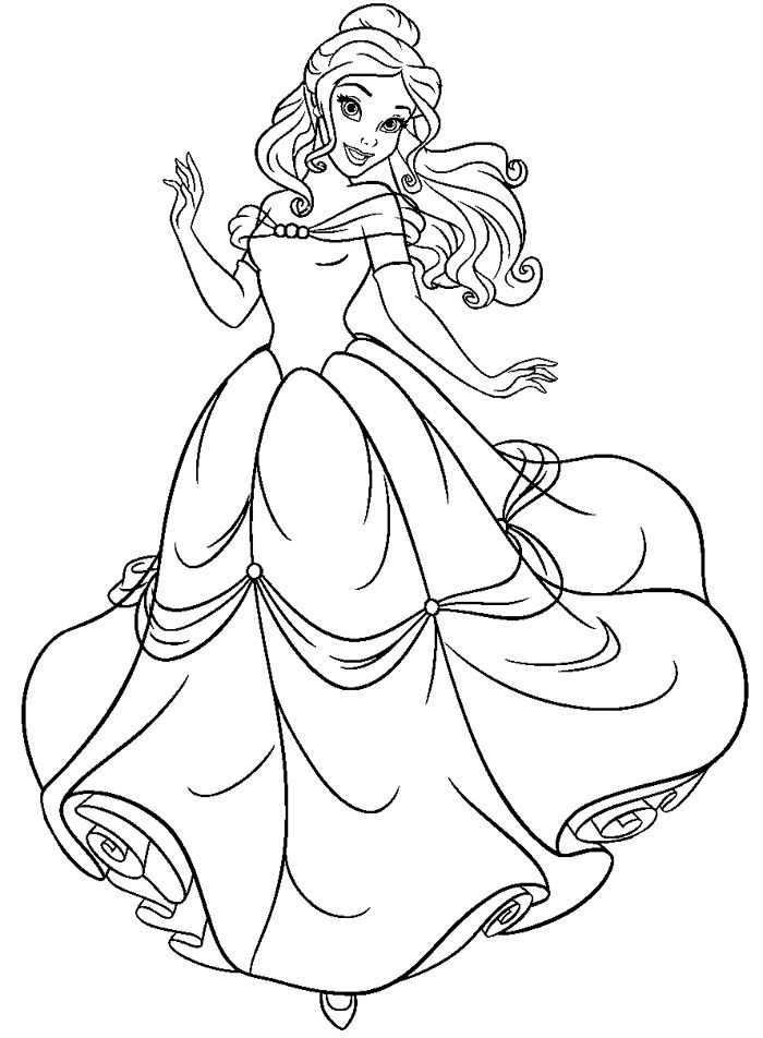 Coloring Pages For Princess Belle : Free beauty and the beast coloring pages http