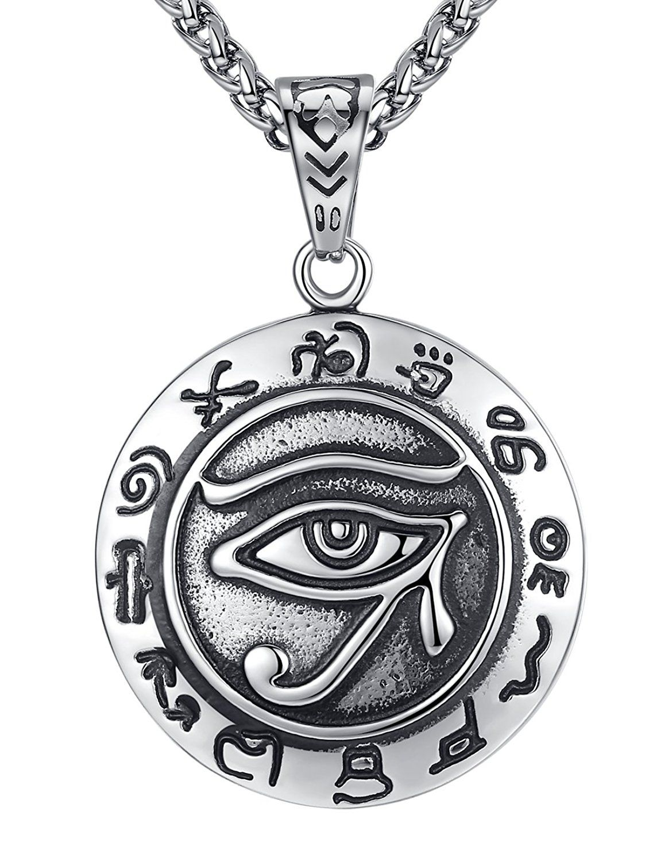 Religious Egyptian Eye of Ra Horus Udjat Pharaoh Protection Power Chain Necklace