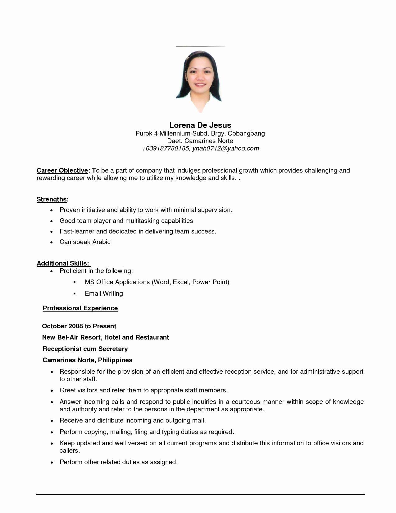 Basic Resume Examples for Part Time Jobs Elegant Job