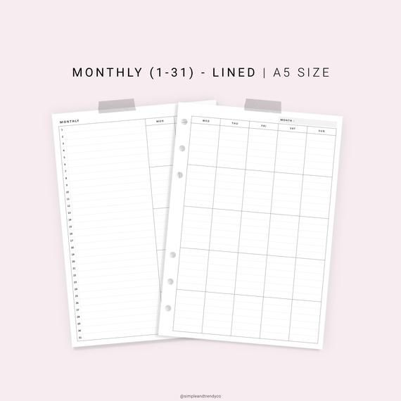 Monthly Planner Printable A5 Planner Inserts, Monthly List