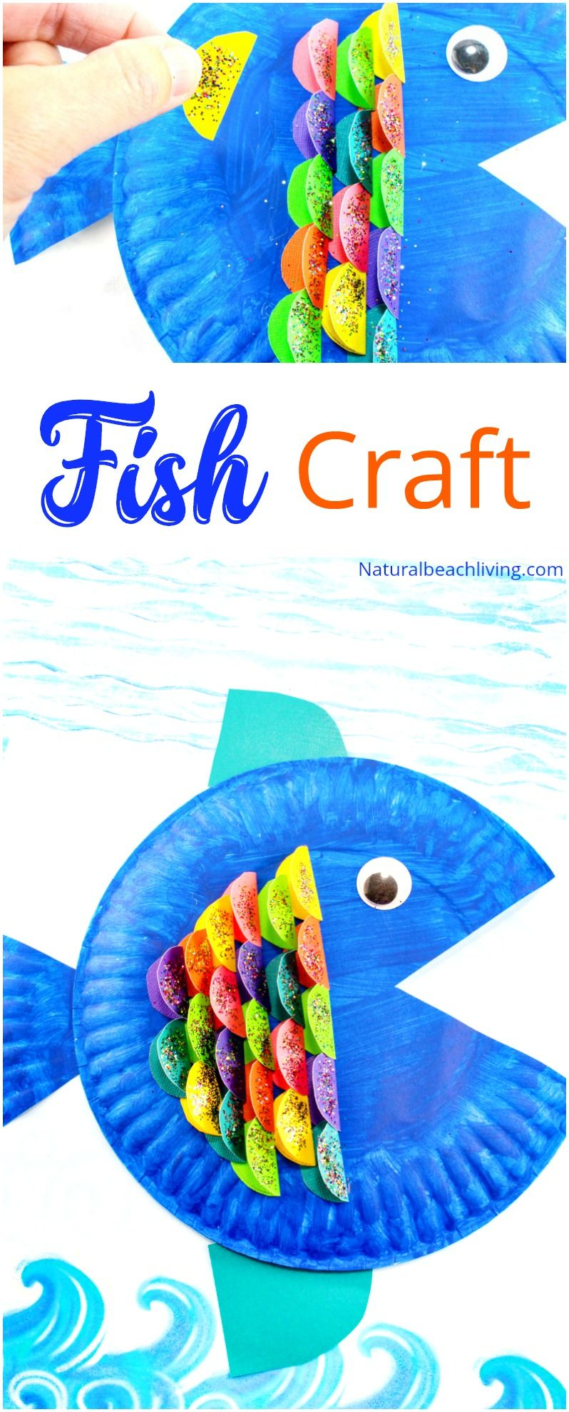 Super cute paper plate fish craft for kids paper plate for Rainbow fish activities