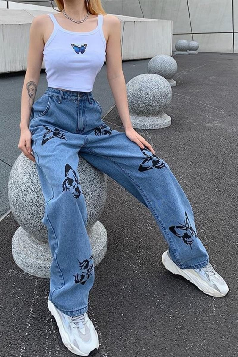 HARAJUKU BUTTERFLY PRINTED LOOSE DENIM PANTS