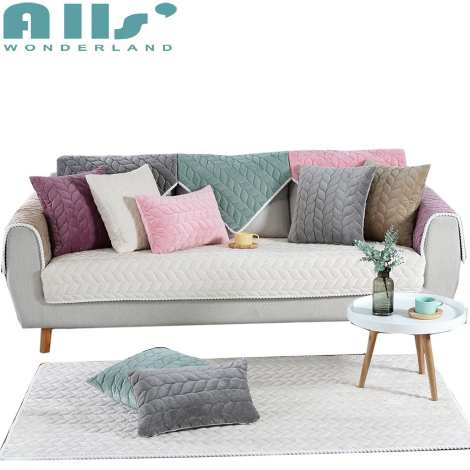 Sectional Slipcovers Solid Color L Shaped Sofa Cover Furniture Protector Polyester Soft And Cheap Crystal Velvet Sofa Covers Sectional Slipcover L Shaped Sofa