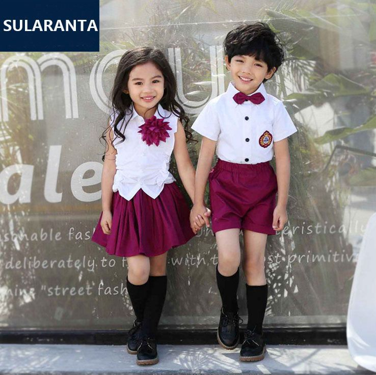 4a671b2652 Children Girls Boys Summer Cotton Korean Student School Uniform Suit Set  Shirt Tops Skirt Shorts Clothes