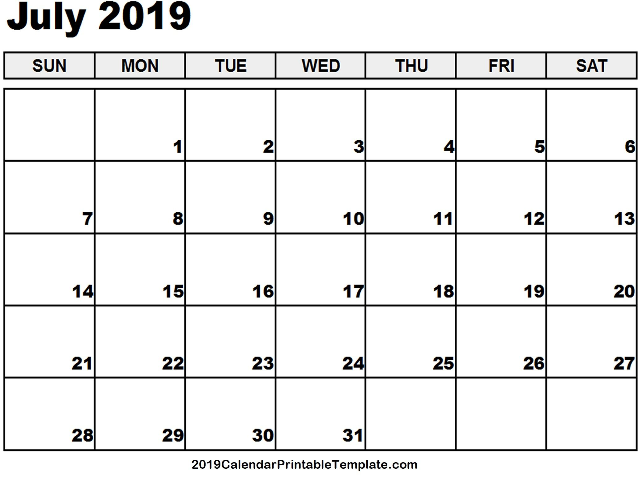 July 2019 Calendar Printable Template With Holidays Pdf Word Excel