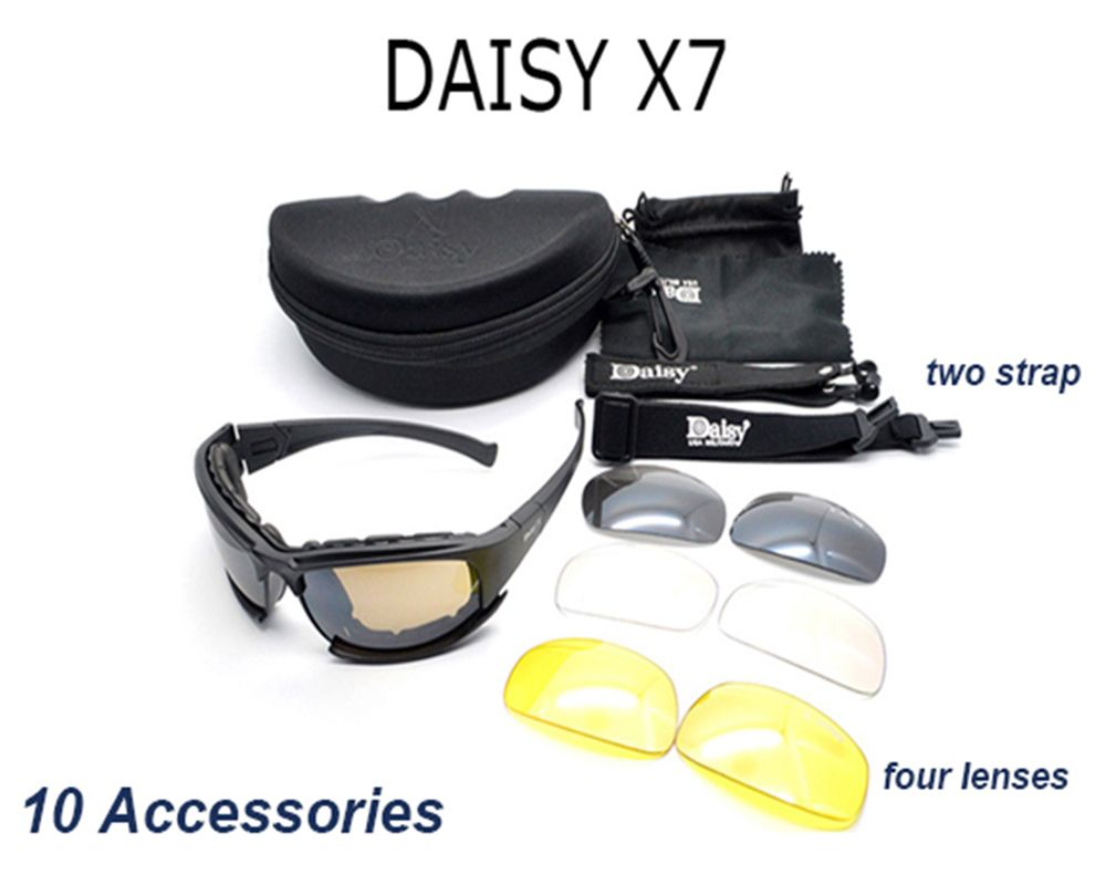 Daisy X7 Tactical Military Army Sunglasses Goggles With 4 interchangeable Lenses