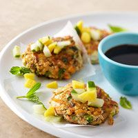 Herbed Tofu Cakes: mash tofu with a fork, add carrot, green onion, cilantro, mint, garlic, flour, and soy sauce. Heat oil over med heat and pack tofu measure together before putting on the skillet - 3 minutes each side. Top with cucumber and mango or dipping sauce and serve!
