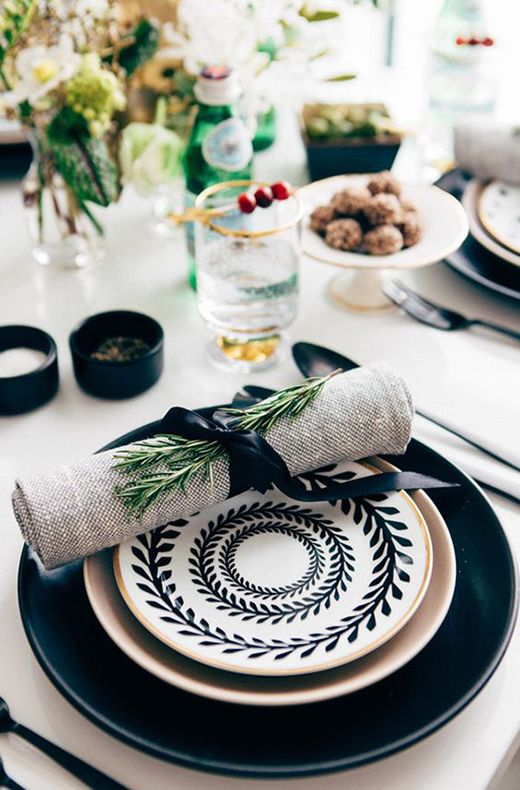 Black Plates Grey Napkin With Black Ribbon And A Sprig Of Rosemary Black And White Tablescape