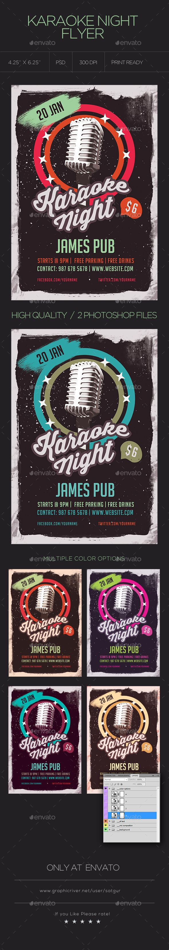 Karaoke Night Flyer  Karaoke Flyer Template And Font Logo