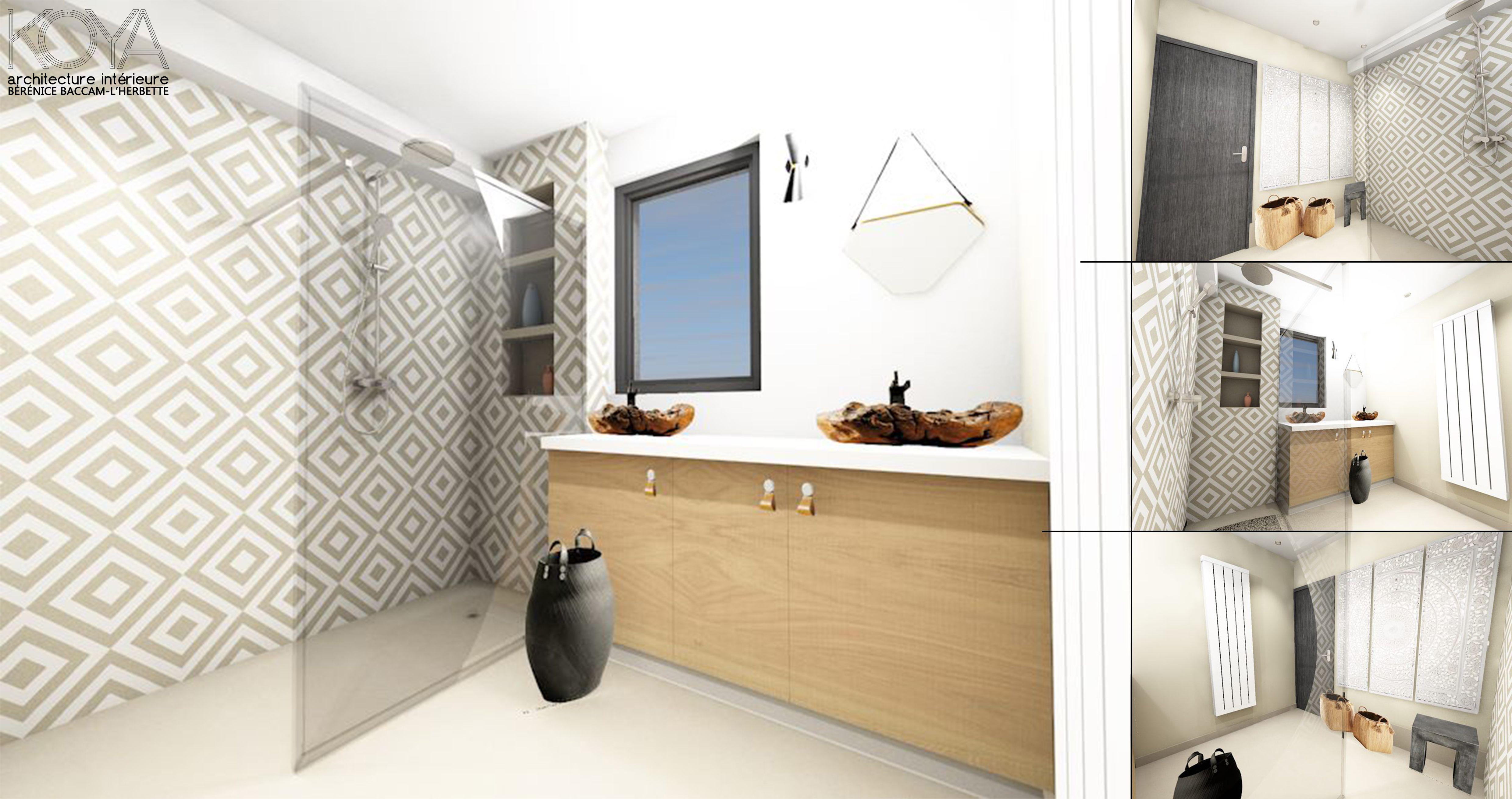 Salle d 39 eau dans une d coration ethnique chic avec une for Rangement douche bois