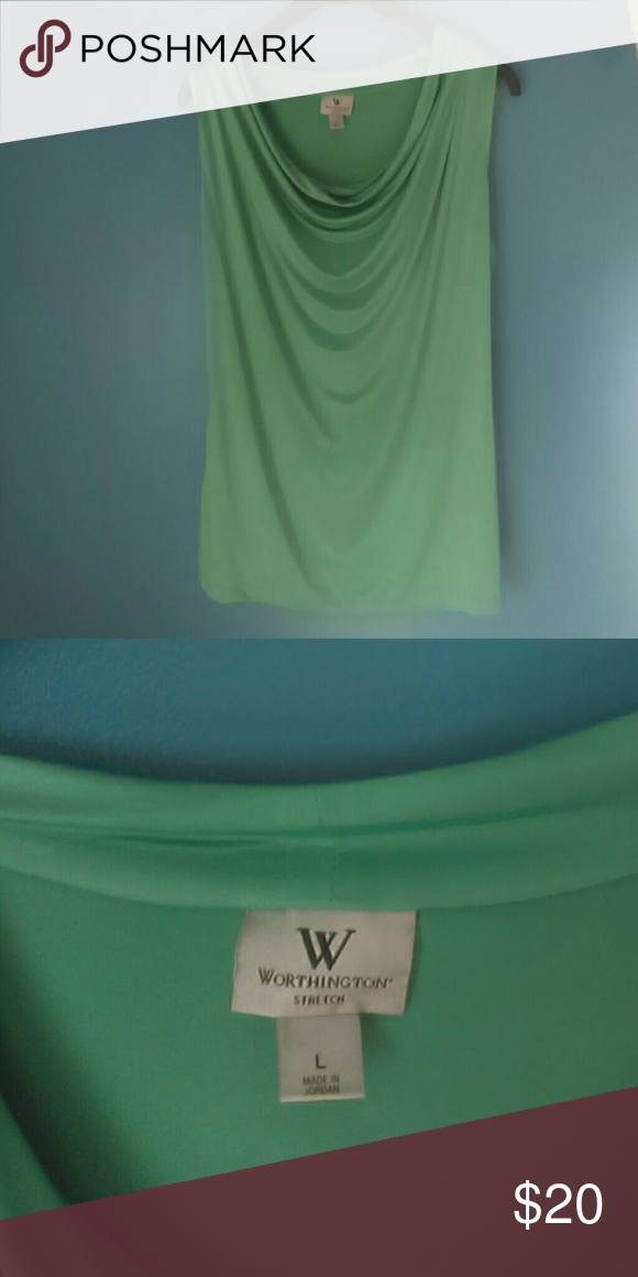 Dress shirt Sleeveless silk green very comfortable Worthington Tops Blouses