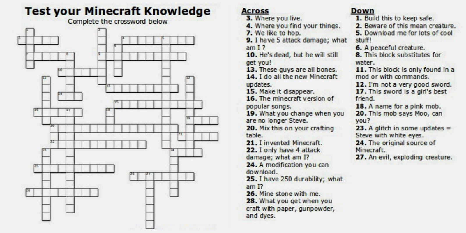 Free Printable Minecraft Crossword Search Test Your