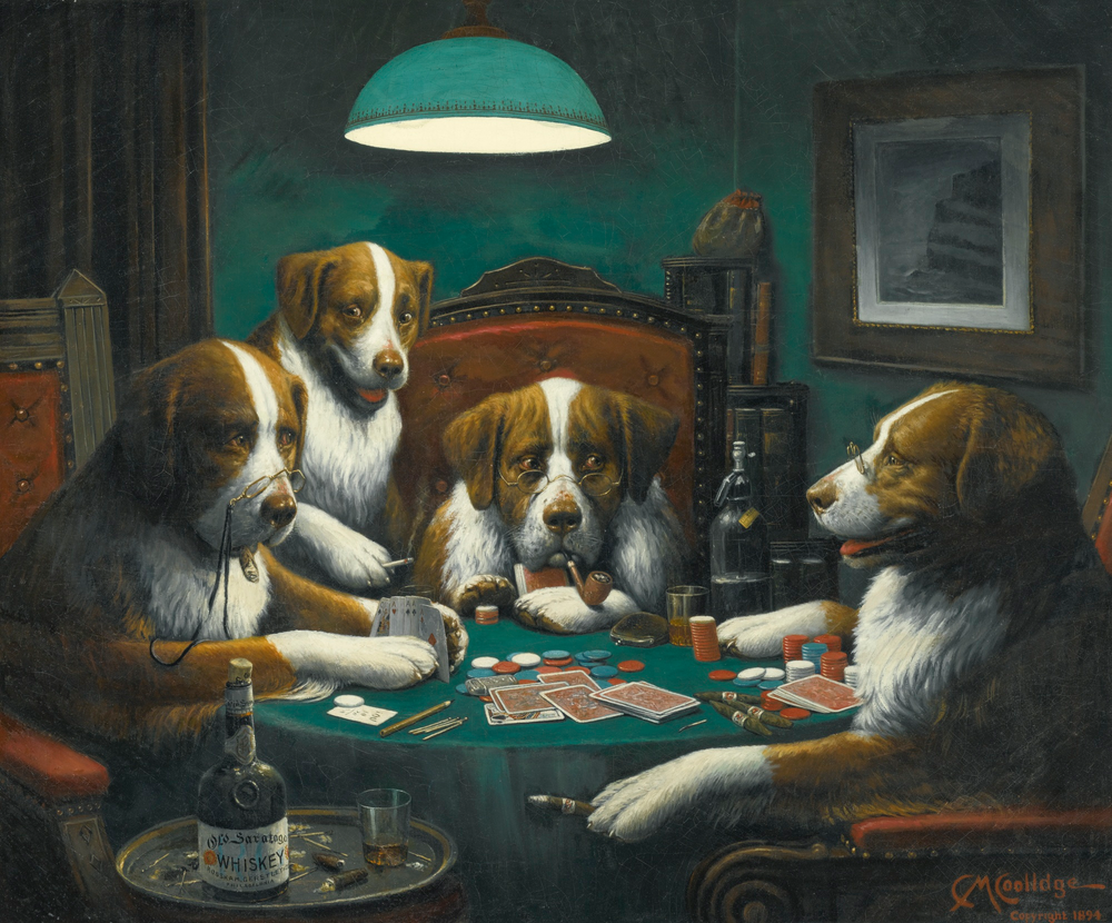 Dogs Playing Poker Art Print By Artmasters X Small In 2020 Dog Paintings Dogs Playing Poker Painting