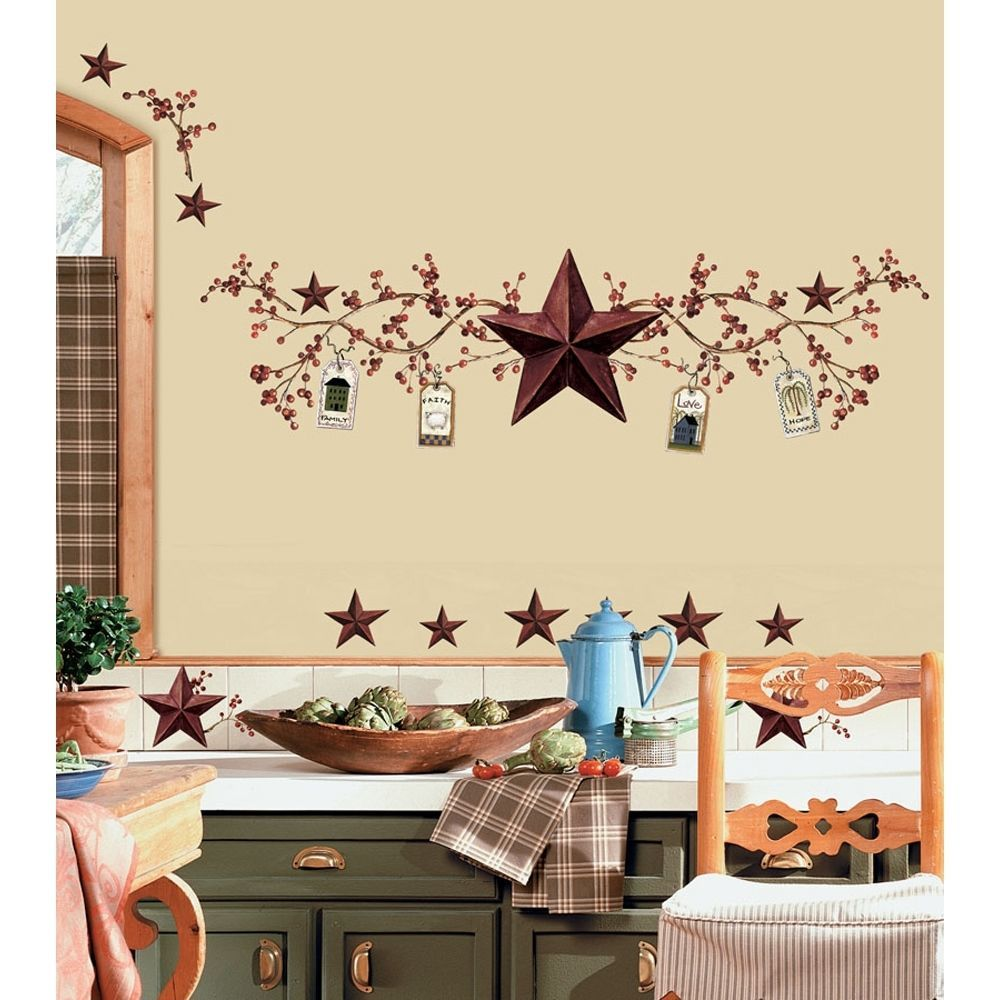 Stars And Berries Wall Decals Country Kitchen Stickers Rustic