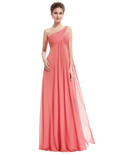Ever-pretty US One Shoulder Evening Dresses Coral Bridesmaid Dresses Long 09816