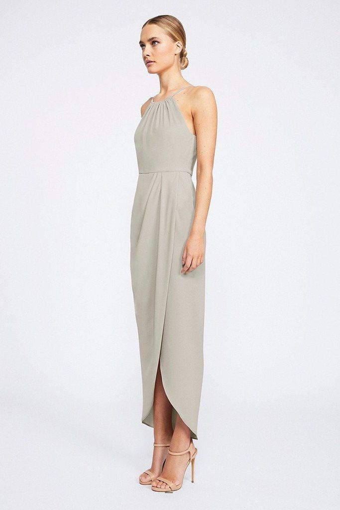 CORE HIGH NECK RUCHED DRESS - OYSTER | if money didn\'t exist ...