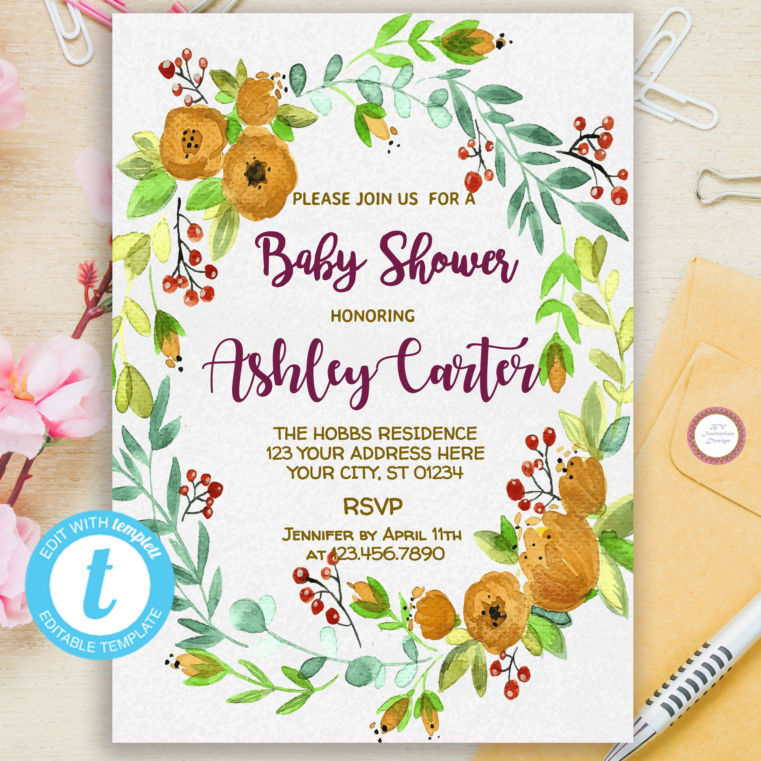 Editable Baby Shower Invitation  Floral Baby Shower Invite