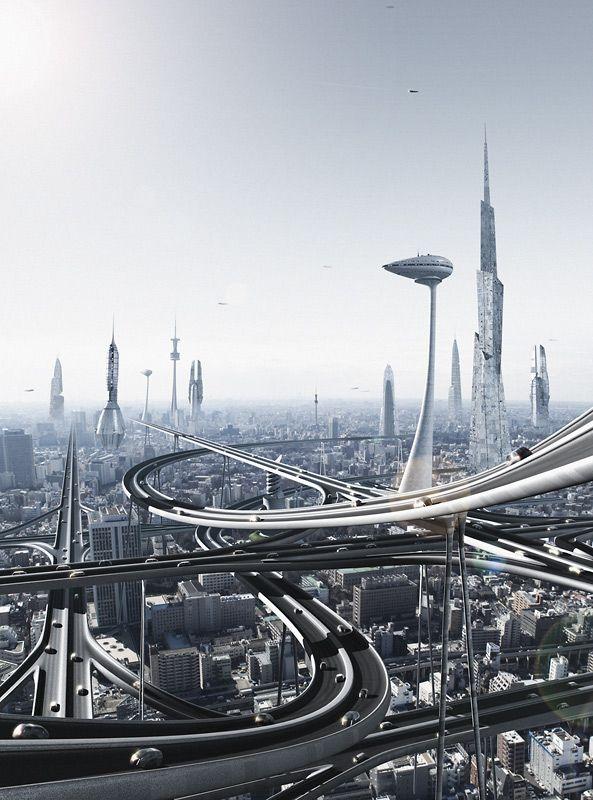 Almost Tomorrow Futuristic City Future City Sci Fi City