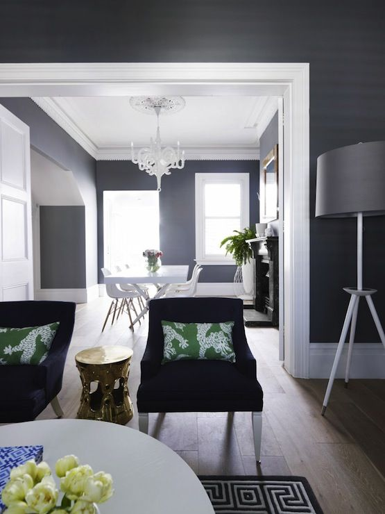 Navy Blue Dining Room With Crown Molding Entry Way