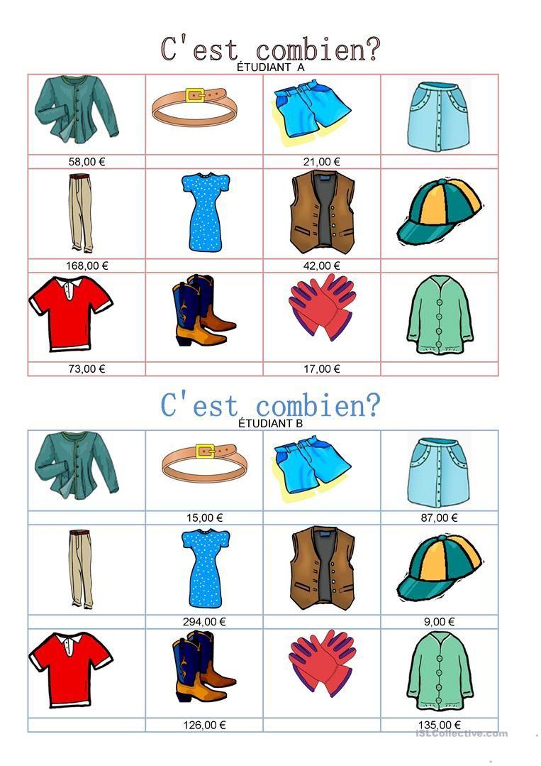 143188cc3d841 Travail à deux - Vêtements - c'est combien? | Fle | Leçon de ...