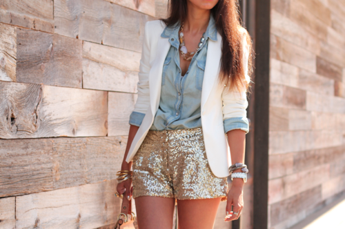 denim shirt, white blazer and sequins