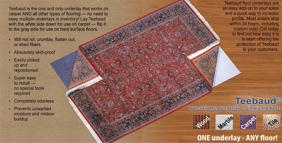 Product Teebaud Rug pad, Floor underlay, Types of flooring