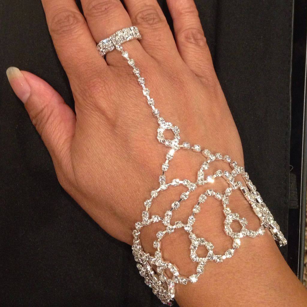 Bling attached rhinestone bracelet u ring products