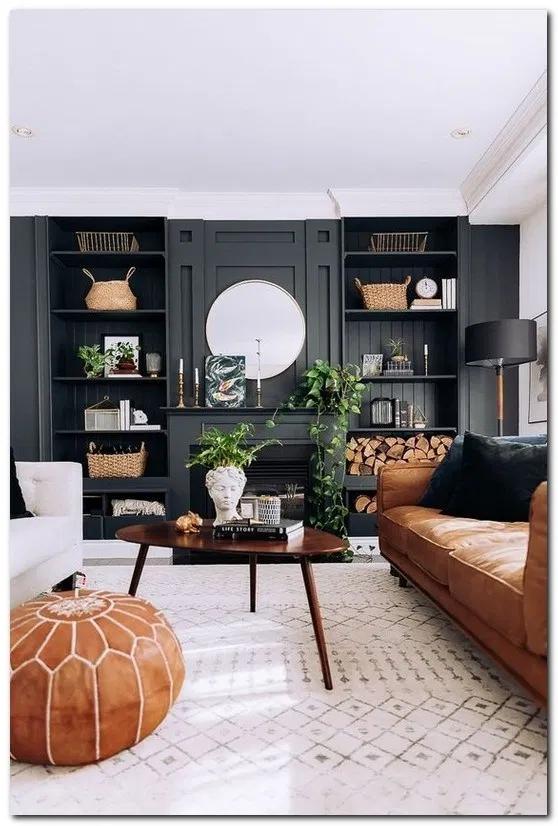 17 Enchanting Open Living Room Design Ideas Open Living Room Design Black Living Room Dark Living Rooms