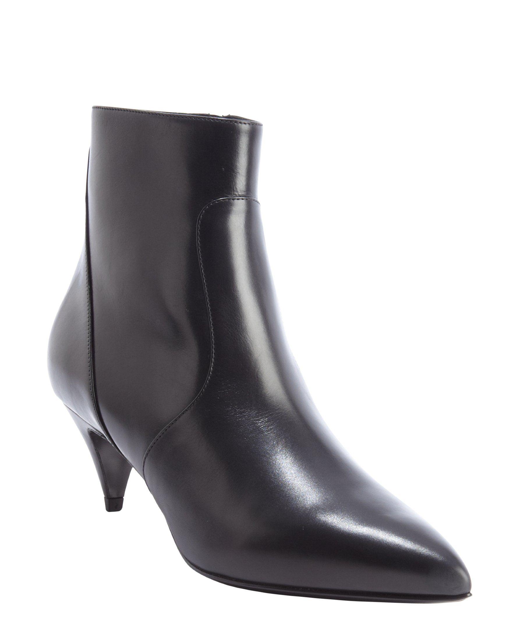 Saint Laurent black leather pointed toe kitten heel ankle boots ...