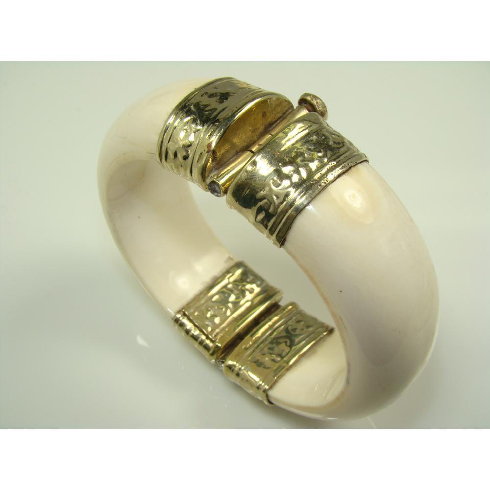 Antique Elephant Ivory Bracelet Sterling Silver Hinge Bangle