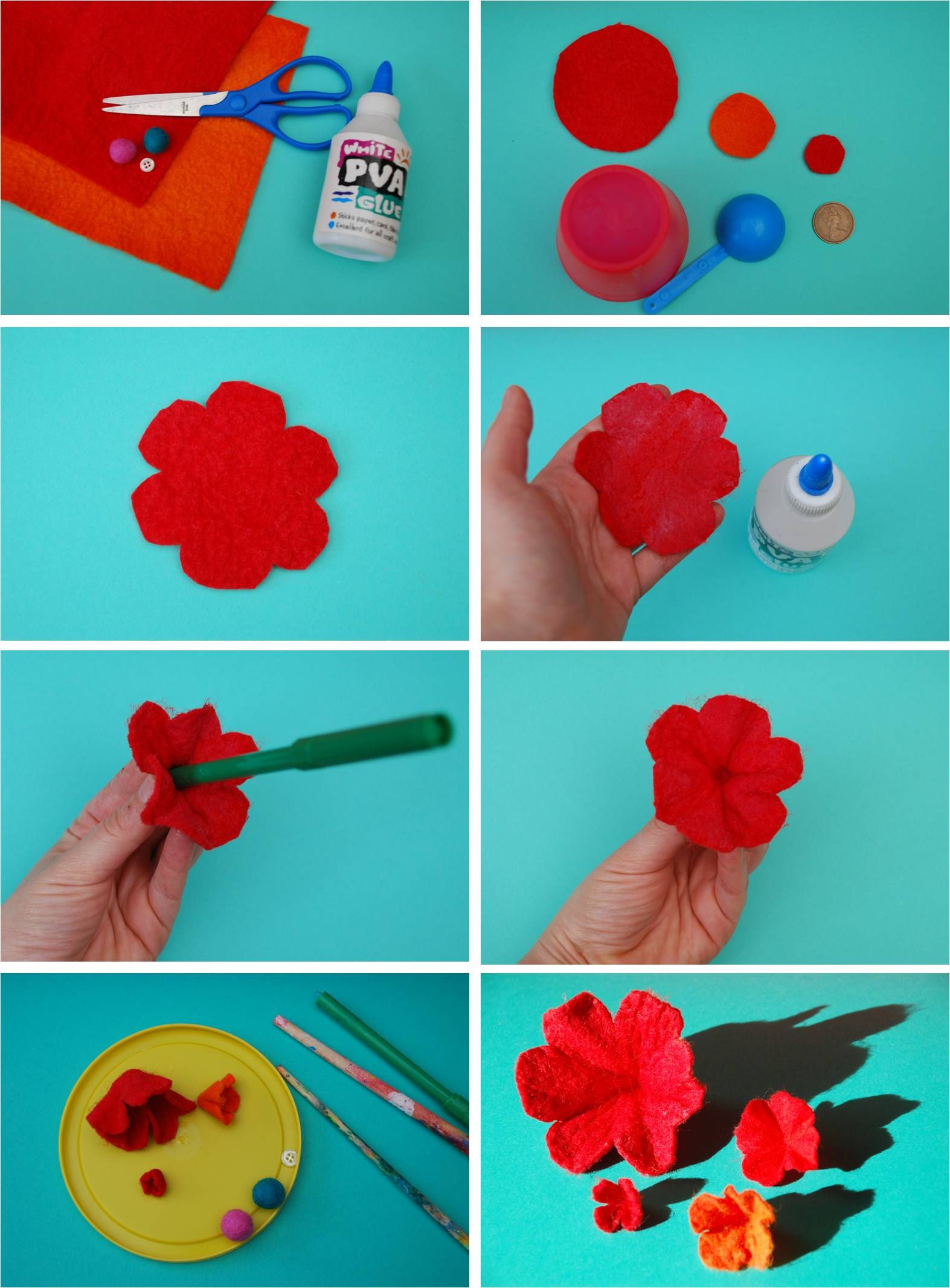 how to make felt flowers step by step