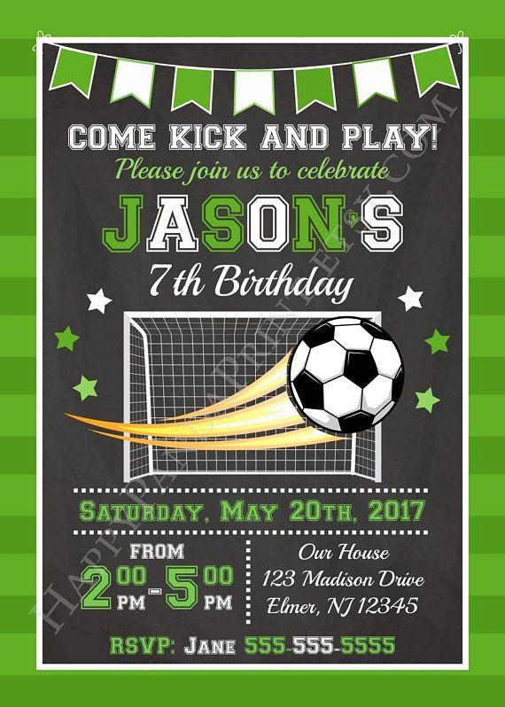 Soccer Invitation Soccer Birthday Invitation Sports Invitation