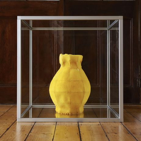 Tomas Libertiny | Vessel 1 | 2011, Beeswax, aluminium, glass | Unique | Netherlands http://www.galleryfumi.com/Works/Vases-and-Vessels/