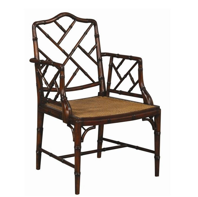 Bamboo Chair With Arms: Chinese Chippendale Caned Arm Chair