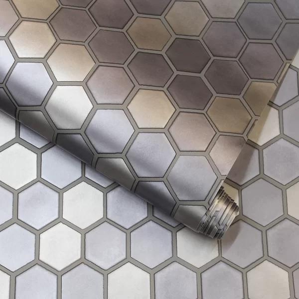 Carruth Hexagon Tile 16 5 L X 20 5 W Peel And Stick Wallpaper Roll Hexagon Tiles Removable Wallpaper Honeycomb Wallpaper