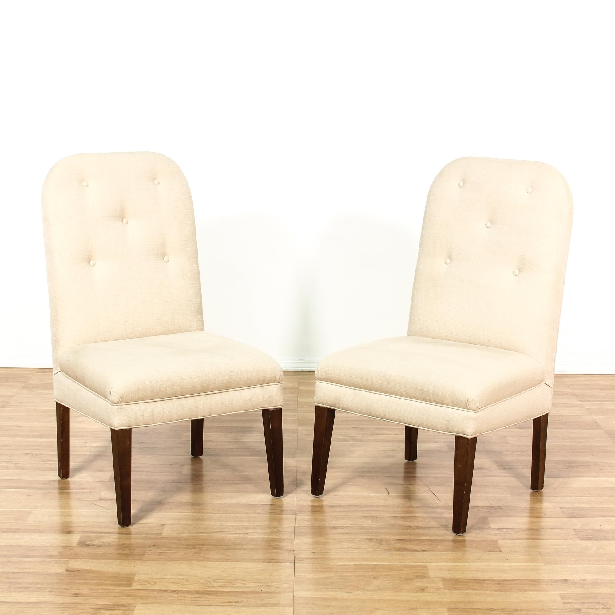 Pair Tall Back Cream Upholstered Dining Chairs