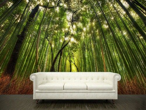 Wall sticker bamboo forest green trees path way mural 108x12632x2