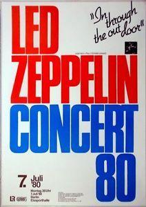 Led Zeppelin 1980 Konzertplakat Concert Tourposter Berlin Concert