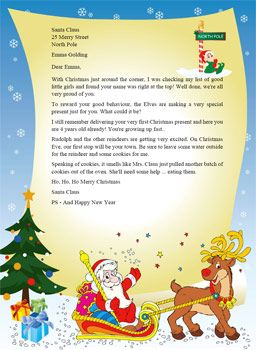 Letter From Santa Template Word | Santa Claus Stationary  Microsoft Word Christmas Letter Template