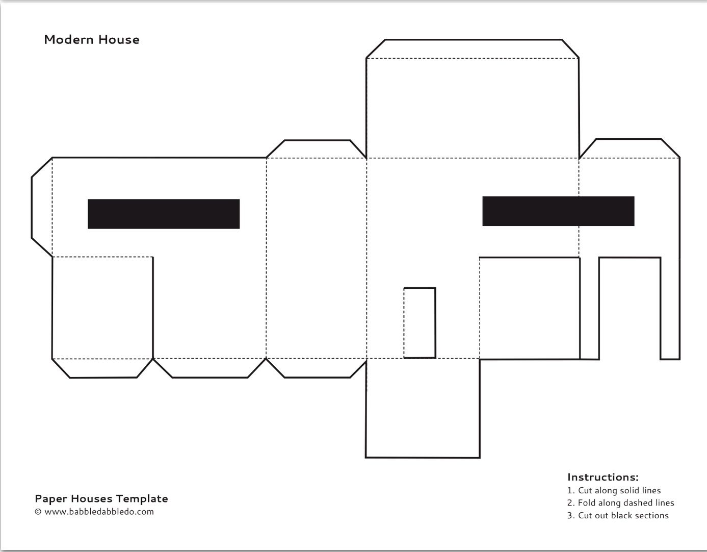 Paper House Template   Free For Kids