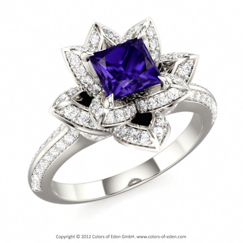 tanzanite engagement ring lotus blossom royal princess engagement ring - Tanzanite Wedding Rings