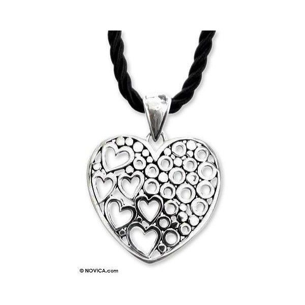 NOVICA Sterling Silver Heart Pendant Neckalce (£46) ❤ liked on Polyvore featuring jewelry, pendants, necklaces, pendant, sterling silver, bubble jewelry, sterling silver heart pendant, black heart pendant, sterling silver pendant and black heart jewelry