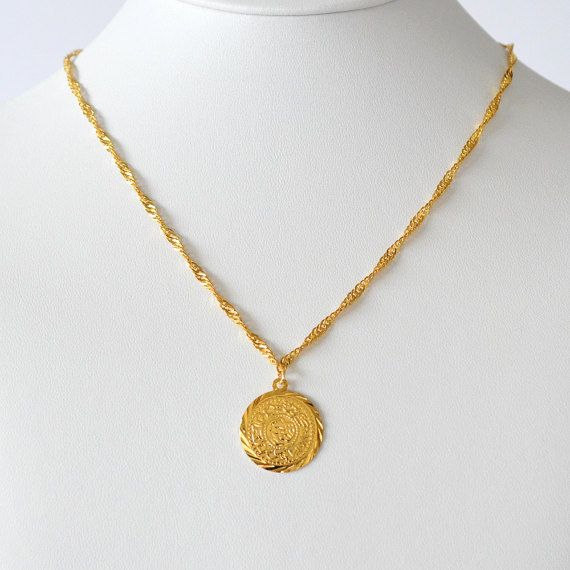 51552583b7b11 Gold Coin Necklace Pendant Medallion Minimalist Arabic Coin ...