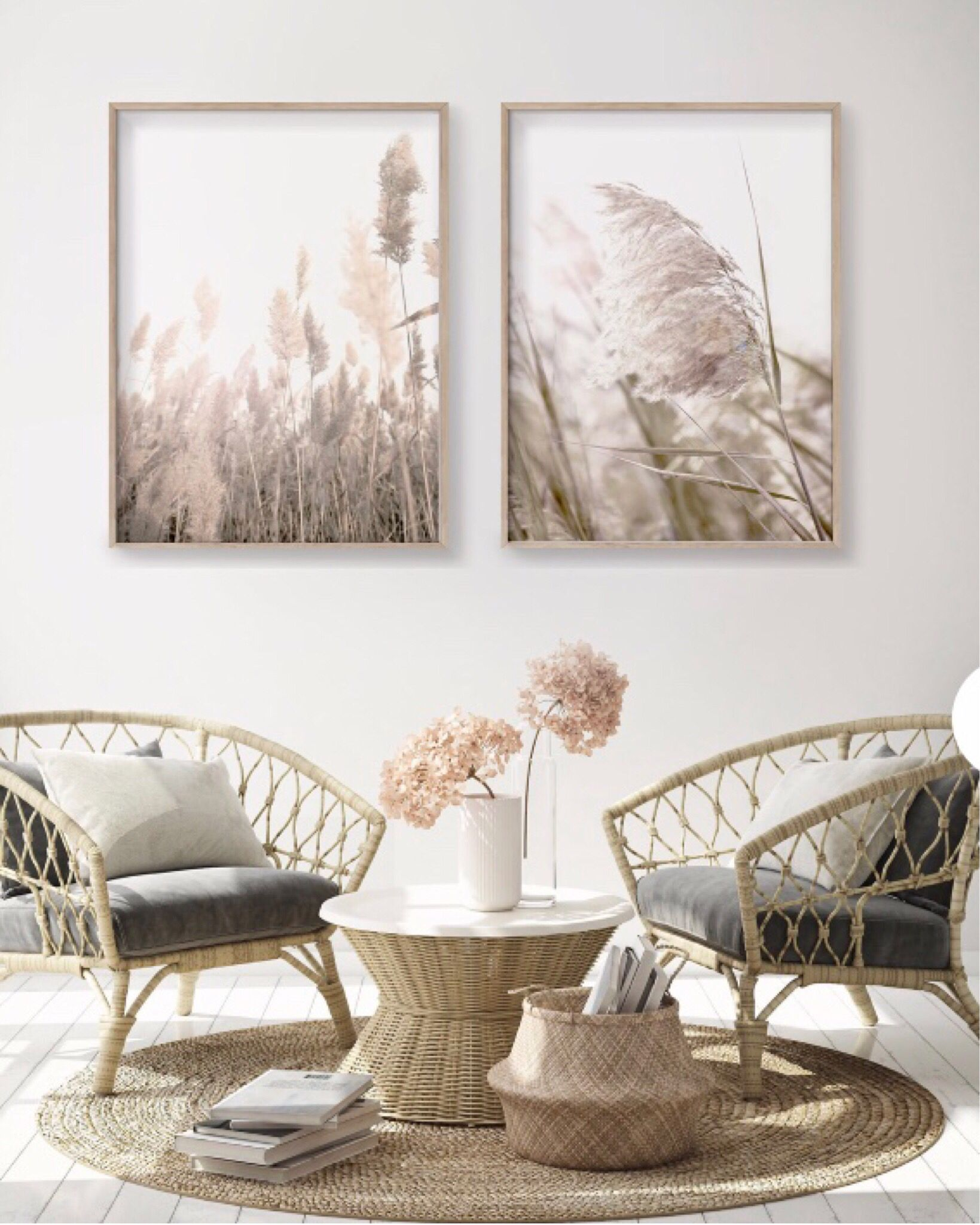 Pampas grass set of two wall print. Perfect for the living room or over your bed. #homedecoration #homedecorlivingroom #wallprints #pampasgrass #homedesignideas #livingroomdecor #walldecoration