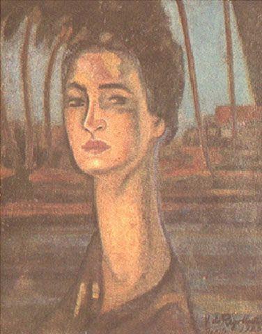 Retrato da Mãe do Artista 1920   Vicente do Rego Monteiro óleo sobre tela, c.i.d. 40.20 x 33.00 cm