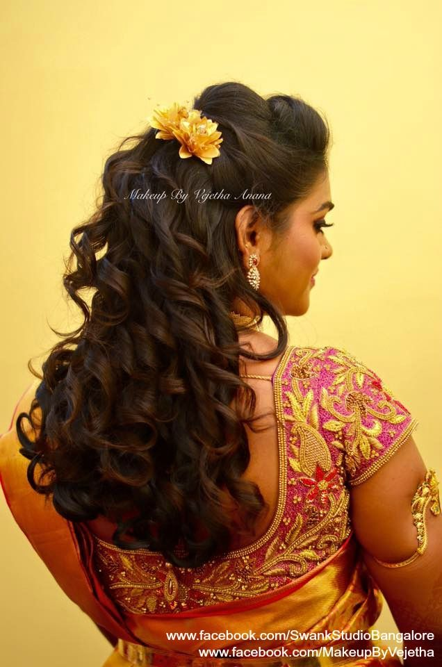 Indian bride's reception hairstyle by Vejetha for Swank Studio. Curls. Saree Blouse Design. Hair ...