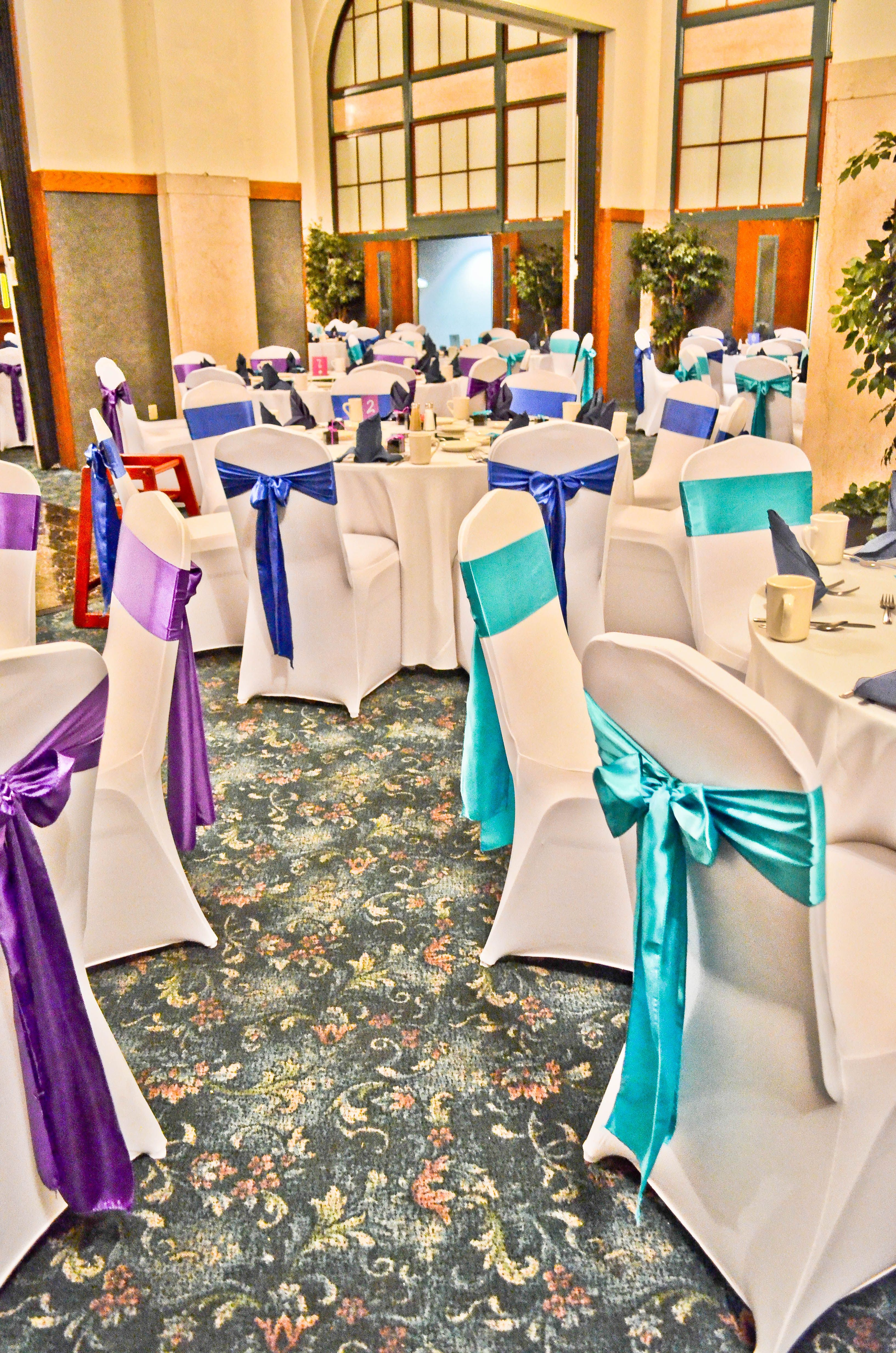 Stretch Chair Covers Wedding Rental How To Hang A Hammock White Spandex Purple Turquoise And Royal