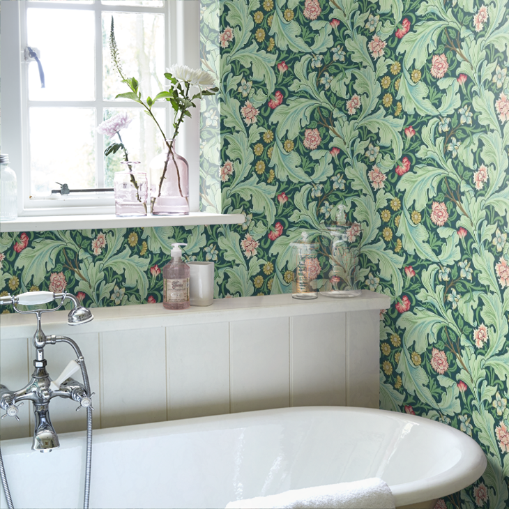 William Morris Leicester Wallpaper In The Bathroom Bathroomdesignleicester Modern Bathroom Design Bathroom Design Bathroom Inspiration Modern