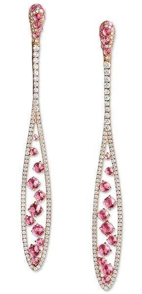 Gnzoe Fashion Jewelry 18K Silver Plated Drop Earrings Fishhook Tear Drop Heart Pink Crystal Eco Friendly